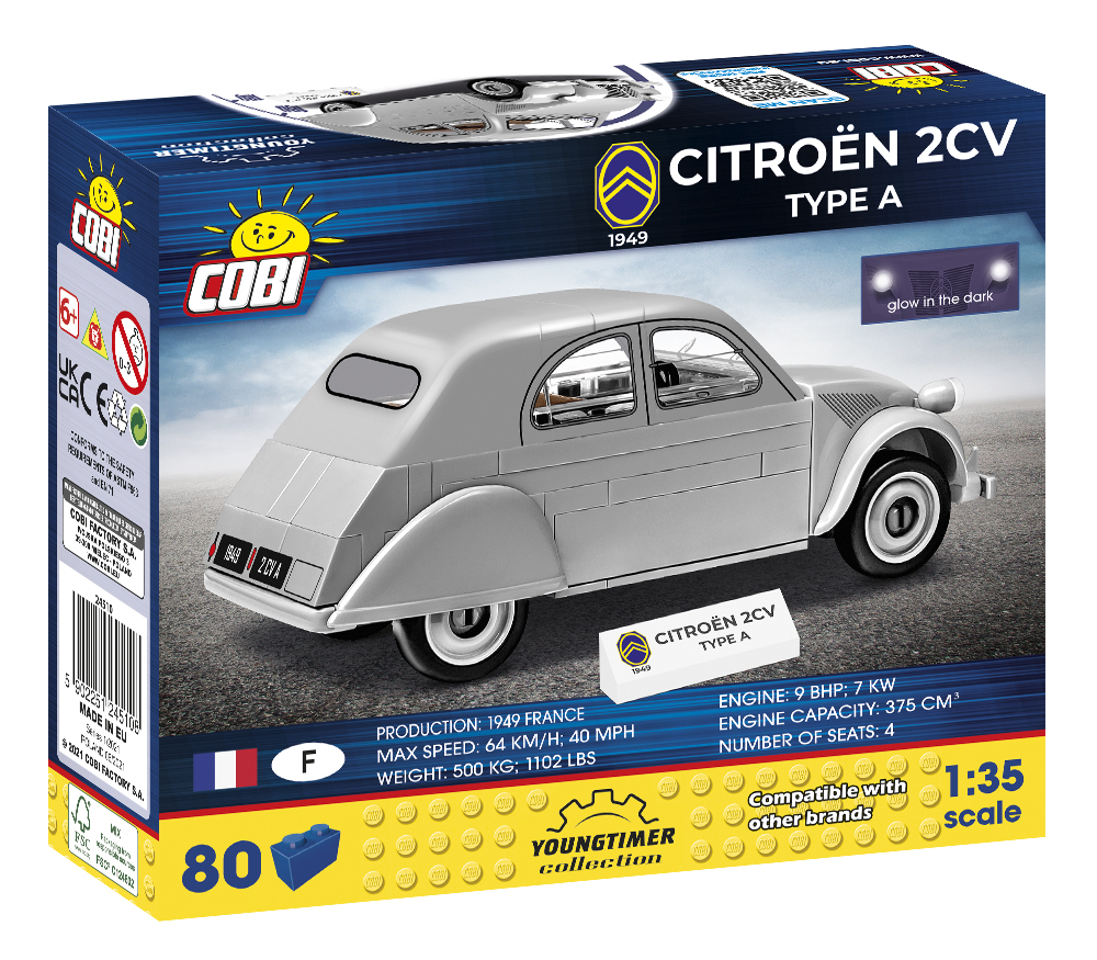 Cobi 24510 Citroen 2CV Type A 1929 (Youngtimer Collection) Pad printed- no Stickers