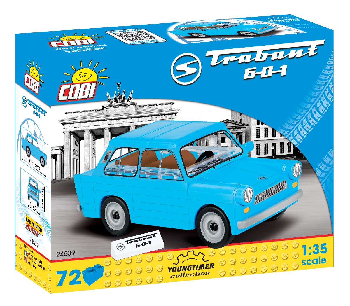 """Cobi 24539 DDR Trabant 601 """"Trabi"""" Pad printed - no Stickers (Youngtimer Collection)"""