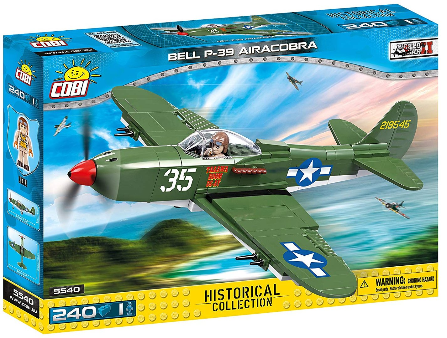 Cobi 5540 US Army Bell P-39 AirCobra  (Historical Collection - WWII - Planes)
