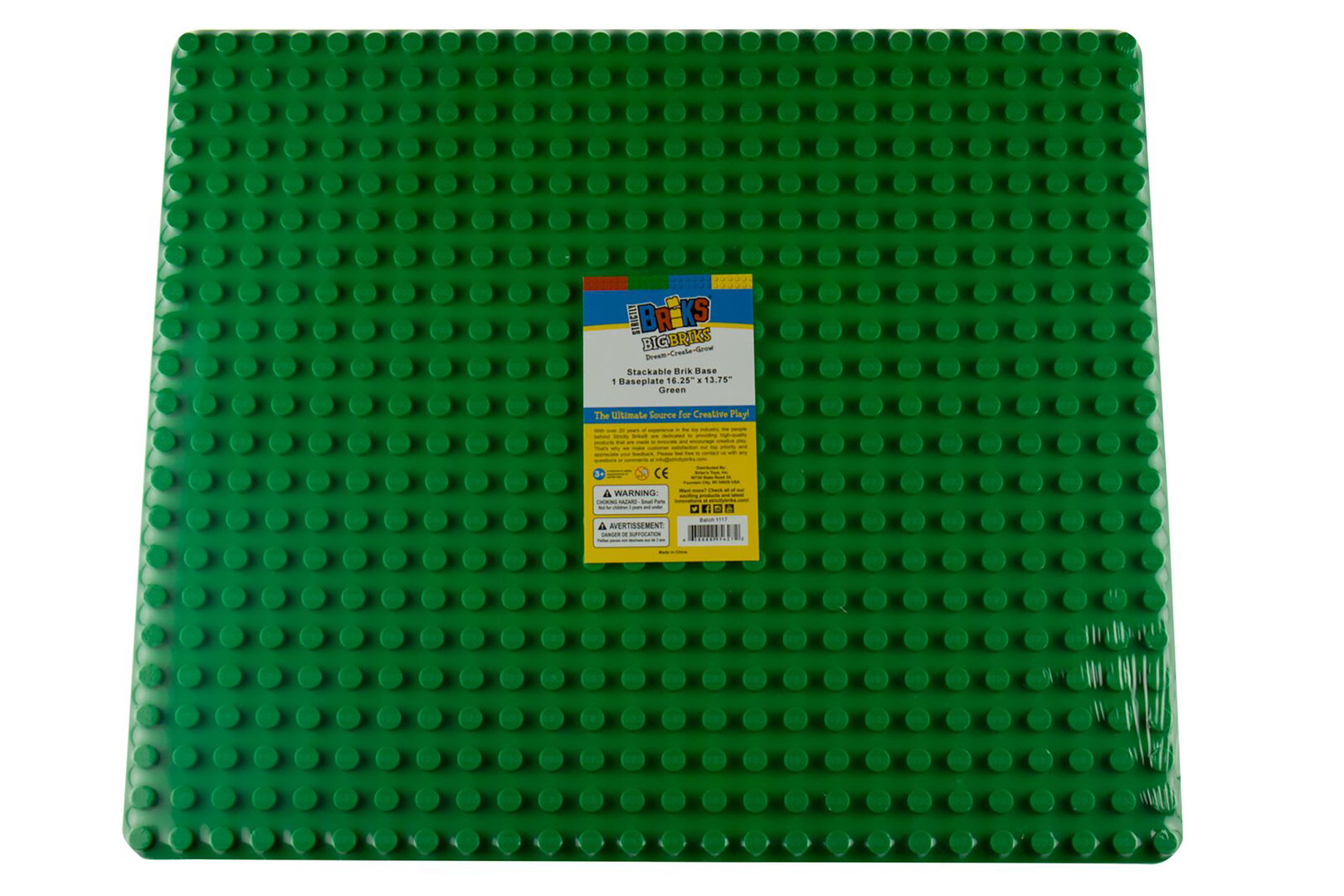 Strictly Briks Stackable Baseplate Big Brick 41x34cm 26x22 Noppen Grün