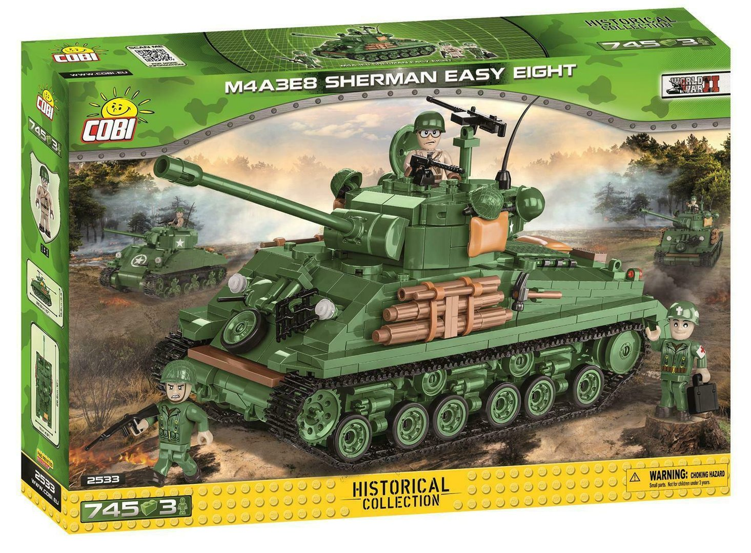 Cobi 2533 US-Panzer M4A3E8 Sherman Easy Eight - Pad Printed- (Historical Collection WWII)