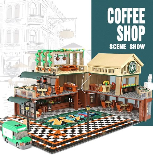 Sembo 601093 Coffee Shop Cafe inkl. LED-Beleuchtung
