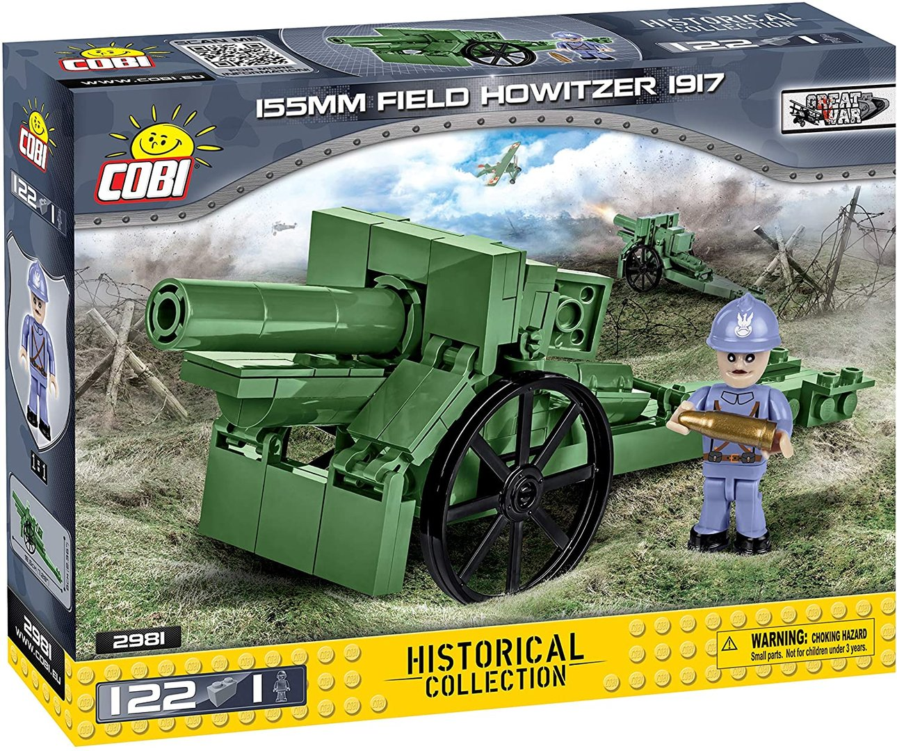 Cobi 2981 155mm Field Howitzer 1917 (Historical Collection)