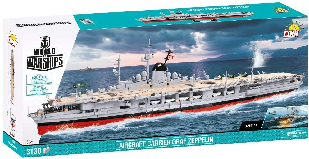 Cobi 3086 Aircraft Carrier Graf Zeppelin Pad printed - no Stickers (World of Warships)