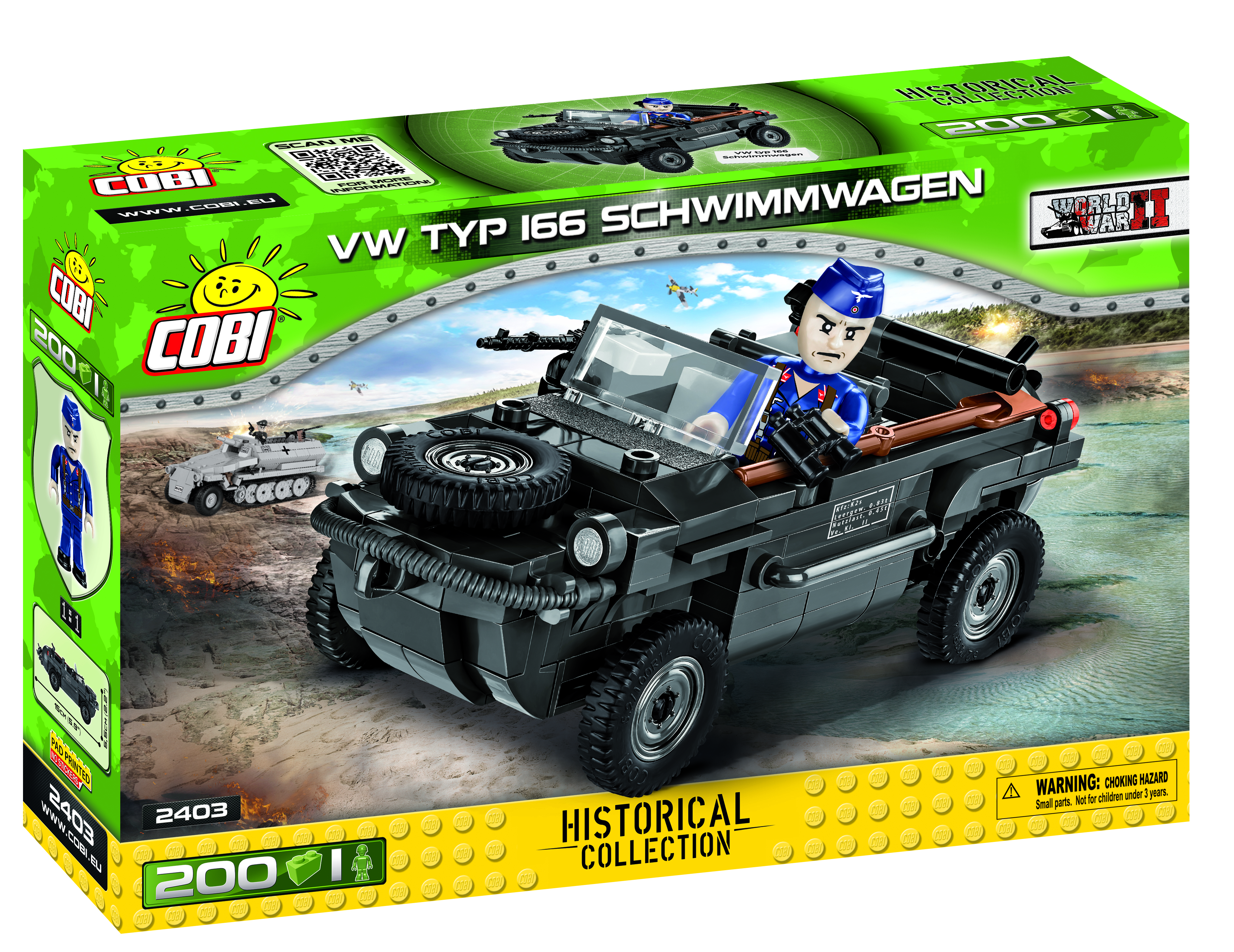 Cobi 2403 VW 166 Schwimmwagen Pad printed- no Stickers (Historical Collection WWII)