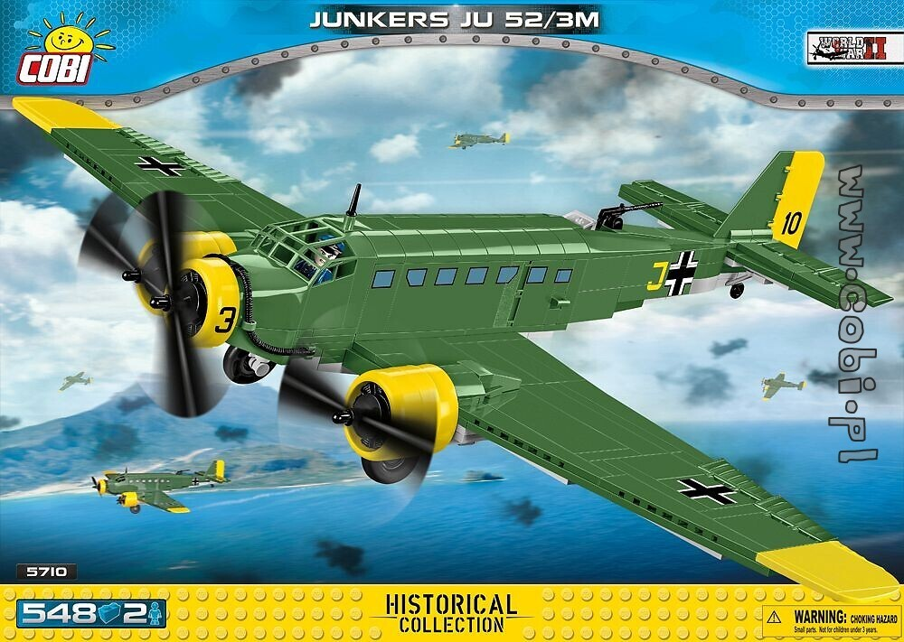 "Cobi 5710 Junkers JU-52/3M ""Tante Ju"" pad Printed  (Historical Collection - WWII - Planes)"