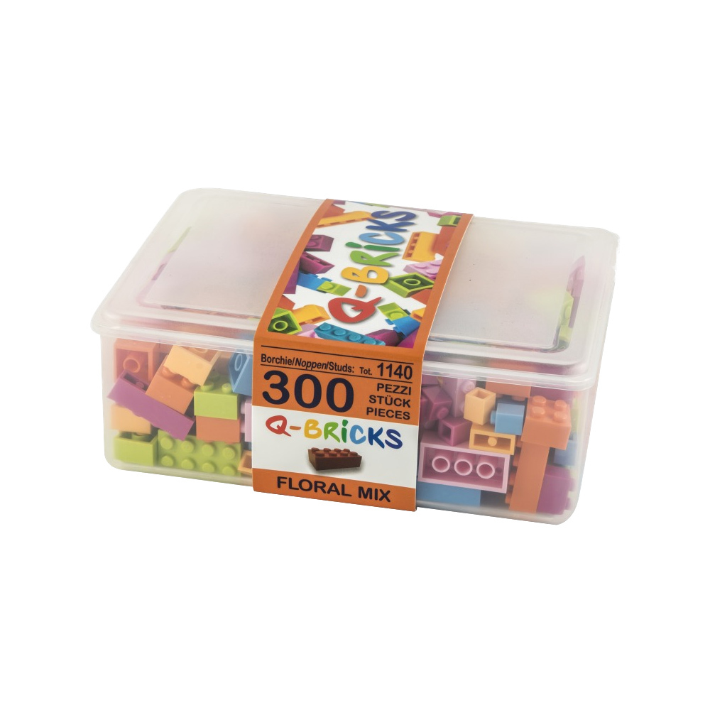 Q-Bricks 300 Teile Box Floral Mix / Mischfarben