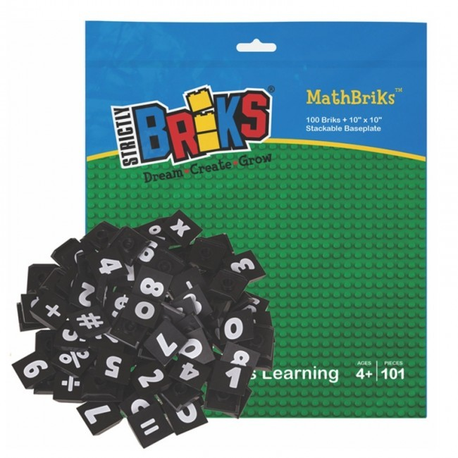 Strictly Briks MathBriks 32x32 Noppen Stackable Baseplate und 100 Zahl