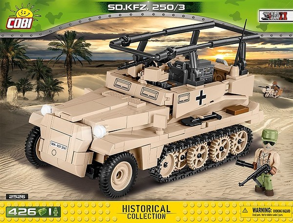 Cobi 2526 SD.KFZ 250/3 DAK Pad printed - no Stickers (Historical Collection WWII)