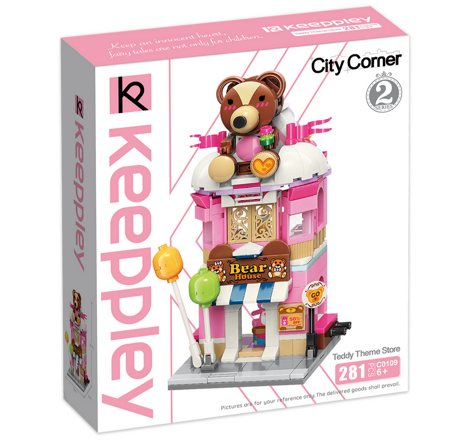 Keeppley by Qman C0109 City Corner 2 Teddy-Laden Teddy Theme Store Kuscheltier