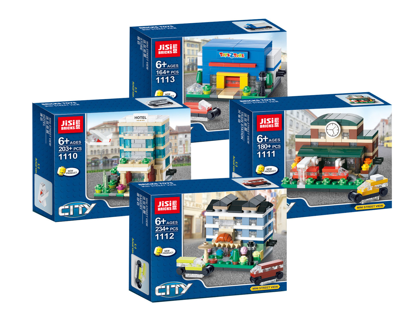 DECOOL JiSi  Brick Toys City Street View 1110-1113 / 4er Pack