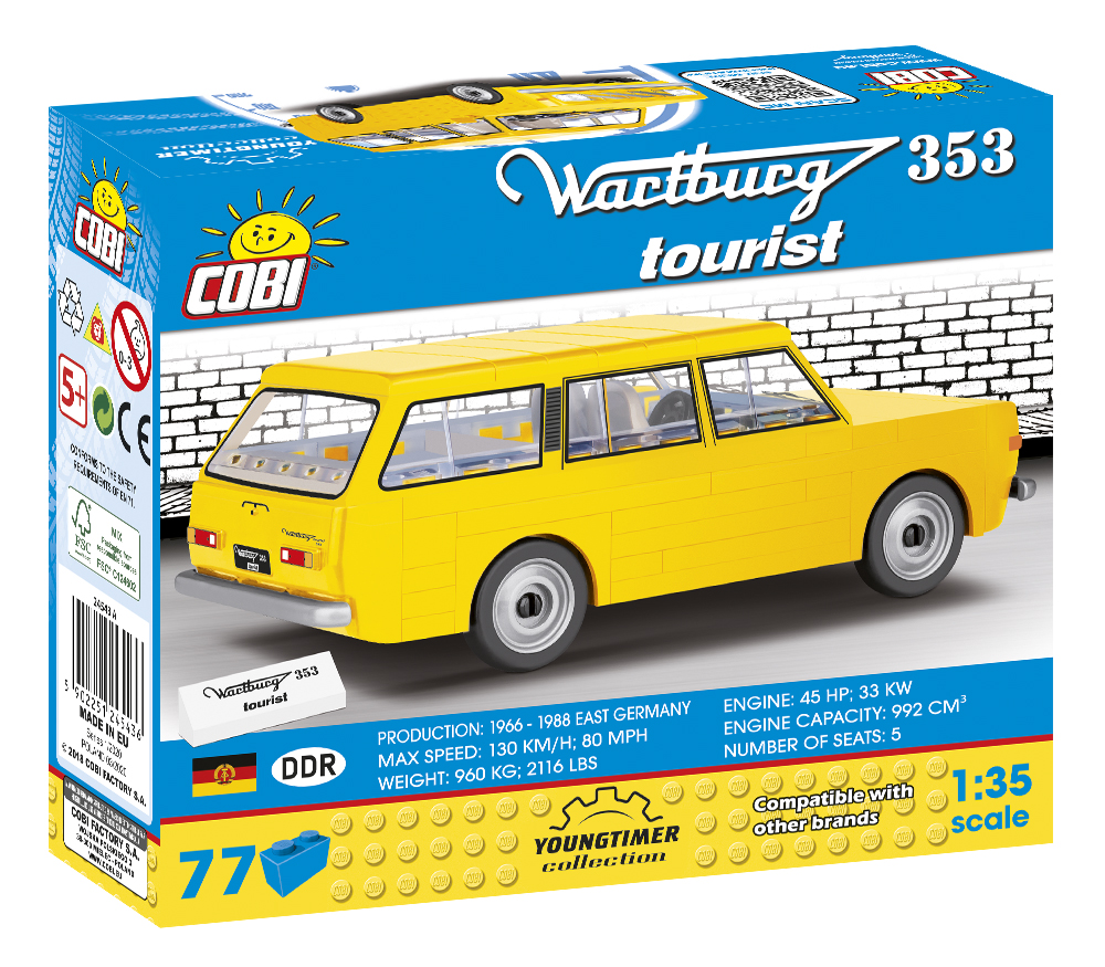 Cobi 24543A DDR Wartburg 353 Tourist Pad printed - no Stickers (Youngtimer Collection)