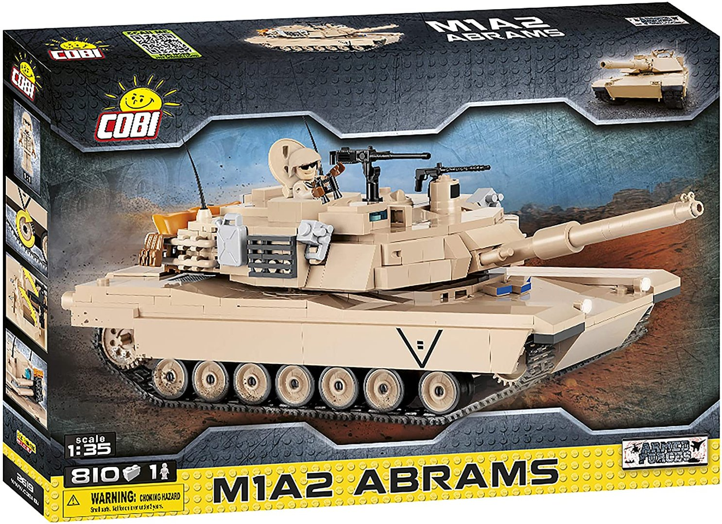 Cobi 2619 Tank M1A2 Abrams (Armed Forces) Pad printed - no Stickers Panzer