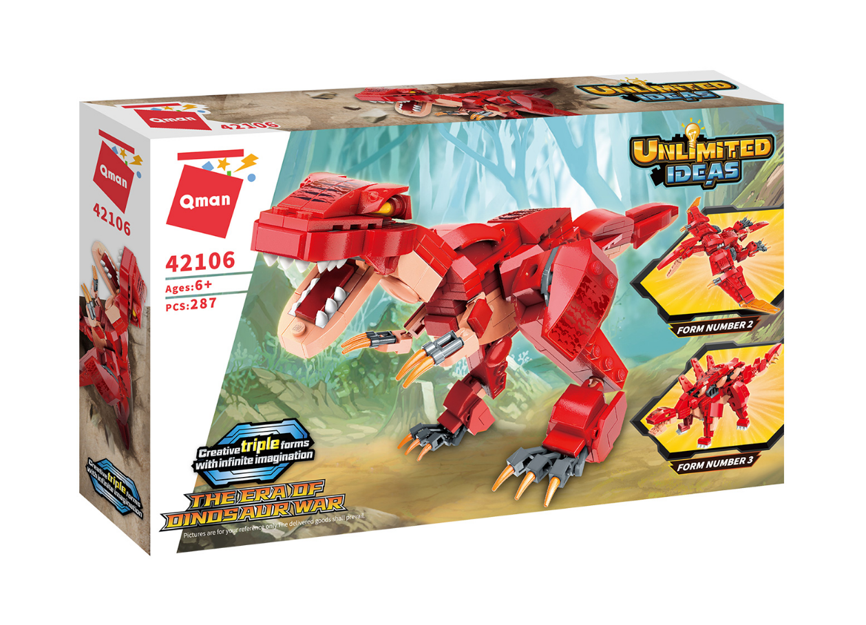 Qman 42106 Trans-Combo Dinosaurier 3 in 1