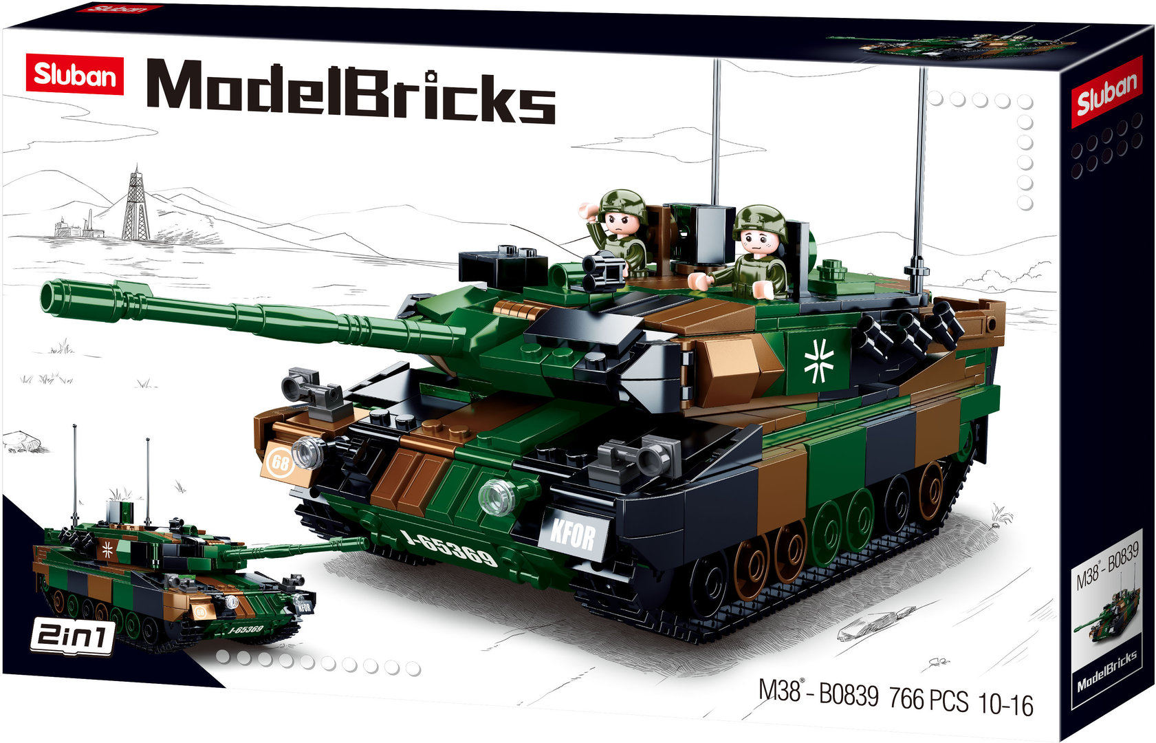 Sluban M38-B0839 Leopard 2A6 Deutscher Panzer- Main Battle Tank Europe