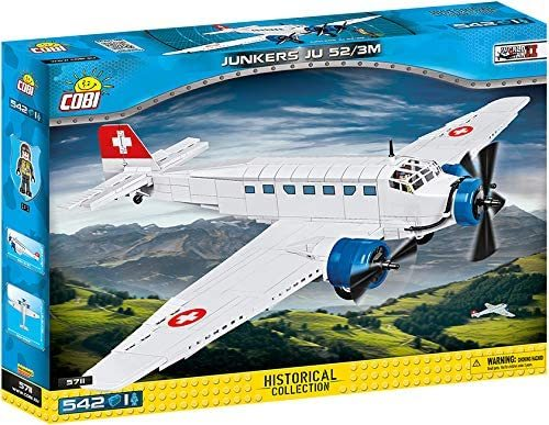 Cobi 5711 Junkers JU-52/3M Schweiz pad Printed - no Stickers (Historical Collection - WWII - Planes)
